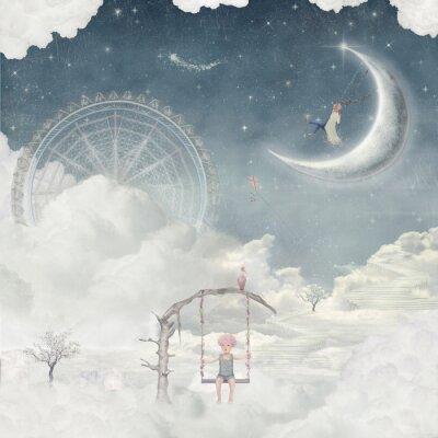 Ville, enfants, fantastique, nuages, ciel