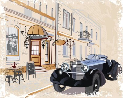Image Vintage background with a retro car and musicians, old town views.