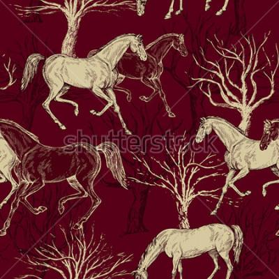 Image Vintage beau fond avec des arbres et des arbres, forêt créative, rétro modèle sans couture, tissu d'art, fantaisie pour la décoration et le design