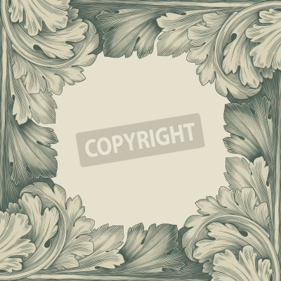 Image vintage border frame engraving with retro ornament pattern in antique rococo style decorative design