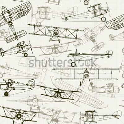 Image Vintage fond sans couture. Composition d'illustration avion stylisé. la texture du papier quadrillé peut être désactivée. Peut être utilise comme papier peint, motifs de remplissage, fond de page