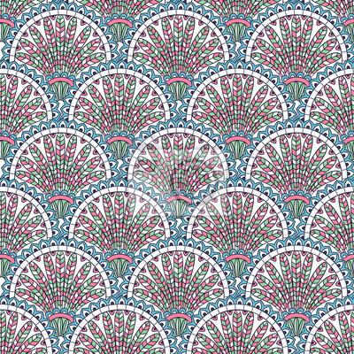 Image Vintage Main Dessin Sans Soudure Ornement Ethnique Fleurs Décoratives