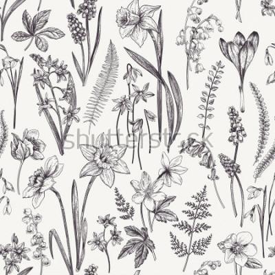 Image Vintage motif floral sans soudure. Fleurs et herbes de printemps. Illustration botanique Narcisse, muguet, hellébore, perce-neige, crocus. Gravure. Noir et blanc.
