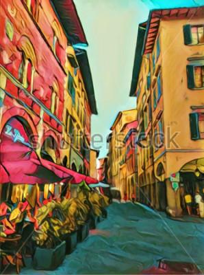 Image Vintage petite rue italienne à Florence. Architecture ancienne traditionnelle de l'Italie. Peinture à l'huile grande taille fine art. Illustration tirée par impressionnisme moderne. Création a