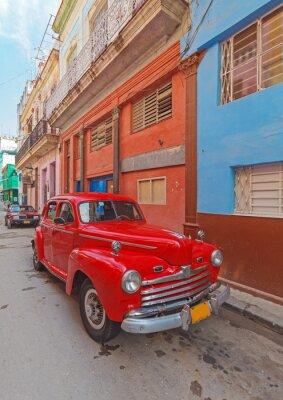 Image Vintage red car on the street of old city, Havana, Cuba