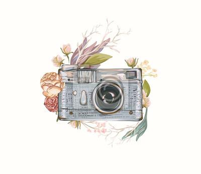 Vintage Retro Photo Appareil Photo Dans Les Fleurs Les Feuilles