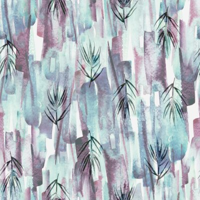 Image Vintage seamless watercolor pattern of plants, wild grasses, algae, twigs, branch, rosemary, tropical, palm, plant. watercolor stylish pattern. Abstract green of paint splash. Trendy background.