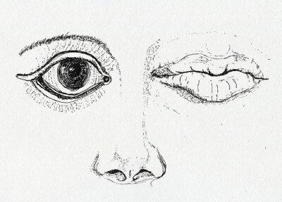 Image Visage, art métaphore, dessin à l'encre sur papier texture