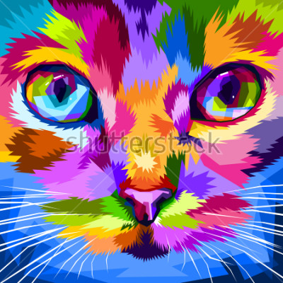 Image visage de chat près des yeux colorés