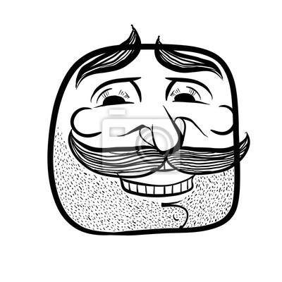 Image Visage De Dessin Animé Heureux Avec Des Moustaches Noir Et Blanc