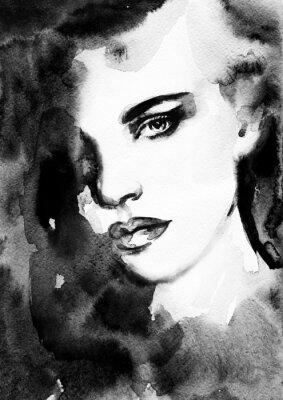 Image visage de femme. Peint à la main illustration de la mode