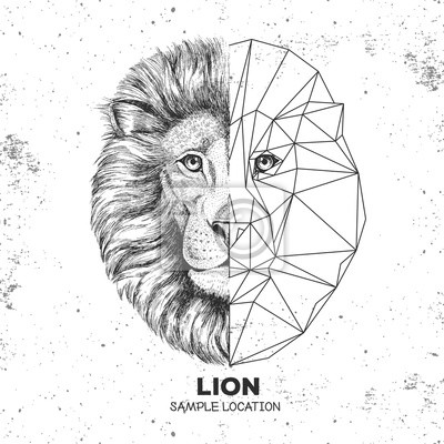 Visage De Lion Realiste Et Polygonale Animaux Hipster Animal