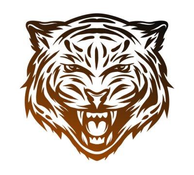 Image Visage de tigre agressif. Style de ligne d'art.