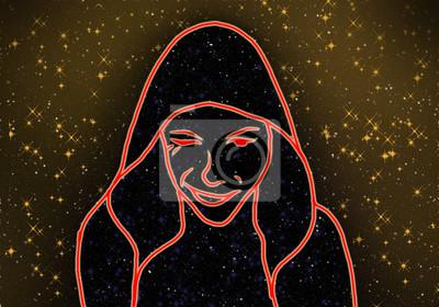 visage homme fantastique dans le ciel nocturne parmi les étoiles de la galaxie