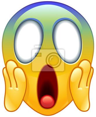 Visage Hurlement Peur Emoticone Peintures Murales Tableaux Scarey Emoticones Horrifiee Myloview Fr