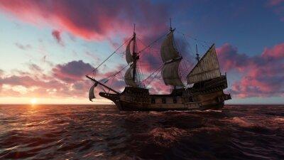 Image Voilier en mer le soir au coucher du soleil illustration 3d