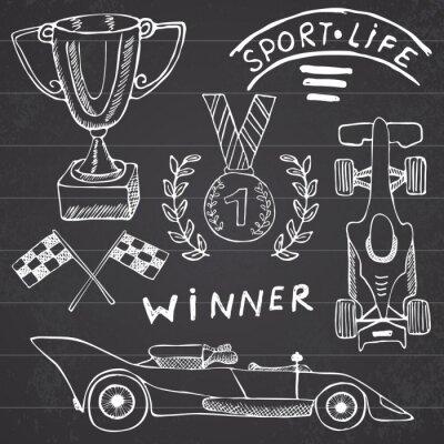 Image Voiture de sport Articles doodles éléments. Hand Drawn réglé avec le drapeau icône. Drapeaux de course à carreaux ou Prize Cup premier lieu. Médaille et la voiture lainage, vecteur de course illustrat