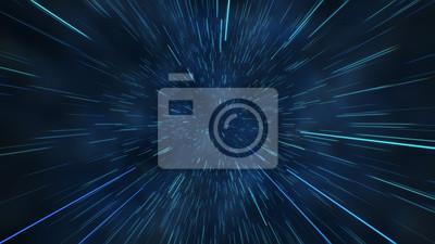 Image Vol abstrait dans l'espace hyper jump illustration 3d