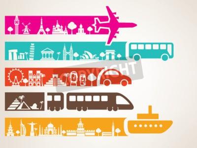 Image voyages mondiaux par différents types de transport, ensemble de repères