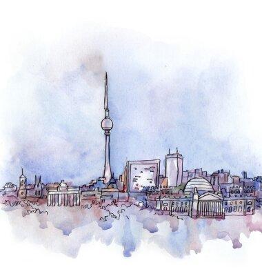 Image Vue, berlin, aquarelle, européen, union, pays, isolé, blanc, fond