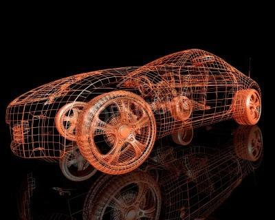 Image vue de face des voitures de modèle moderne rendu 3d sur fond noir