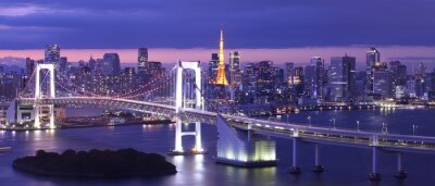 Image vue de la baie de Tokyo, le Rainbow Bridge et la Tour de Tokyo repère