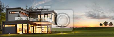 Image Vue du soir sur une luxueuse maison moderne