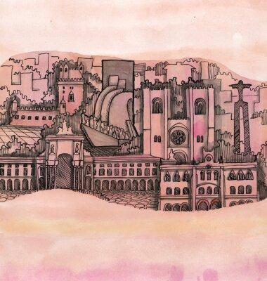 Image Vue panoramique lisbonne ville main dessiné sur les papier peint isolé sur les couleur fond