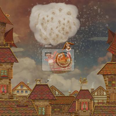 Vue, rouge, toit, tuiles, nuageux, ciel, fond