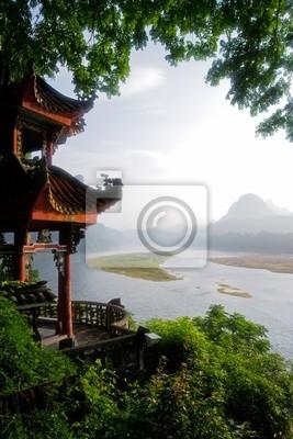 Vue tôt le matin sur la rivière Li, Yangshuo, en Chine