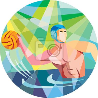 Image Water Polo Joueur lancer le ballon Cercle Low Polygon