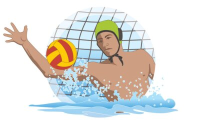 Image water polo male goalkeeper saving ball from net isolated on a white background