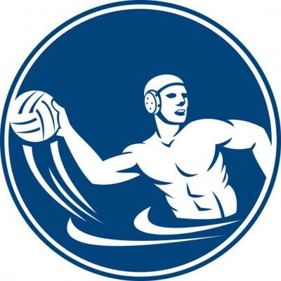 Image Water Polo Player Throw Ball Circle Icon