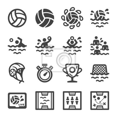 Image water polo sport and recreation icon set,vector and illustration