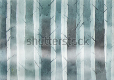 Image Watercolor forest. Foggy wood.