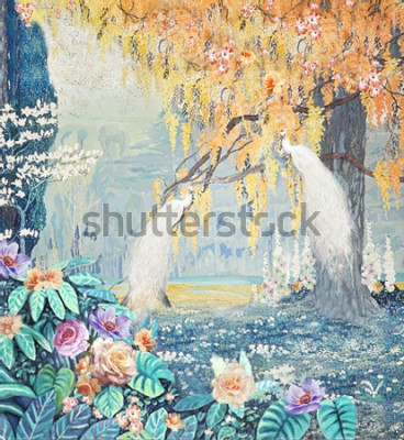 Image Watercolor hand-painted landscape rose peacock yellow tree