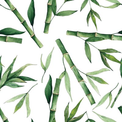 Image Watercolor handpainted seamless pattern with green tropical bamboo and leaves