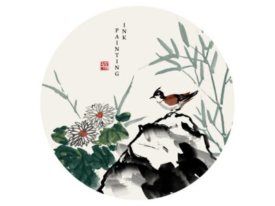 Image Watercolor ink paint art vector texture illustration bird on a rock and chrysanthemum flower bamboo. Translation for the Chinese word : Blessing