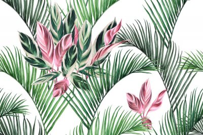 Image Watercolor painting colorful coconut,green,pink leaves seamless pattern background.Watercolor hand drawn illustration tropical exotic leaf prints for wallpaper,textile Hawaii aloha summer style..