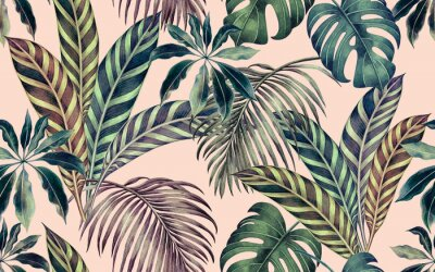 Image Watercolor painting colorful tropical leaf,green leave seamless pattern background.Watercolor hand drawn illustration tropical exotic leaf prints for wallpaper,textile Hawaii aloha summer style..