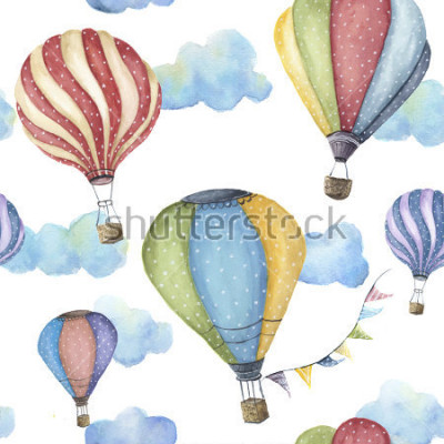 Image Watercolor pattern with cartoon hot air balloon. Transport ornament with flag garlands and clouds isolated on white background