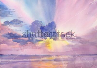 Image Watercolor purple clouds in the seaside sky