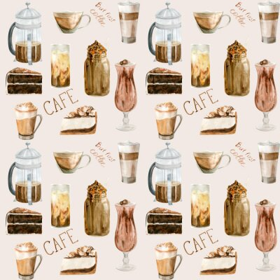 Image Watercolor seamless pattern with illustrations of coffee cup, coffee beans, coffee grinder, cappuccino, latte and desserts