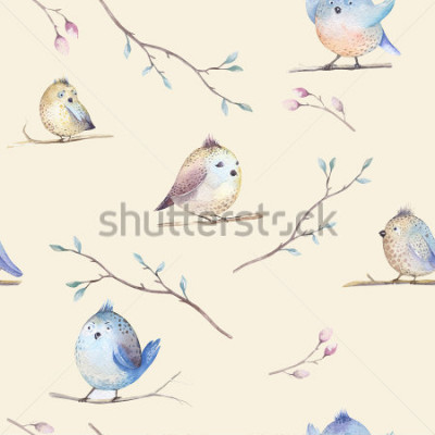 Image Watercolor  spring  rustic pattern with nest, birds, branch,tree twigs and , feathers. Watercolour seamless  hand drawn spring background. Vintage, boho your  fabric design, wedding, child card.