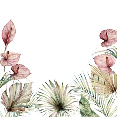 Image Watercolor tropic border with anthurium and palm leaves. Hand painted frame with flowers and plant isolated on white background. Floral holiday illustration for design, print, background.