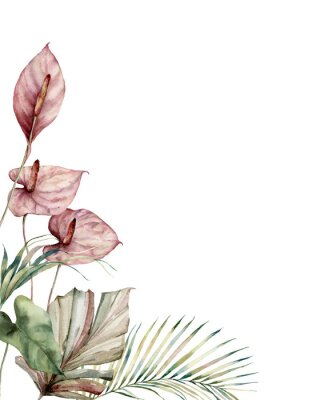 Image Watercolor tropic card with anthurium and palm leaves. Hand painted frame with flowers and plant isolated on white background. Floral illustration for design, print, background. Invitation template.