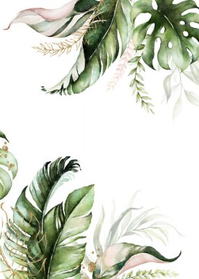 Image Watercolor tropical floral border - green, blush & gold leaves. For wedding stationary, greetings, wallpapers, fashion, background.