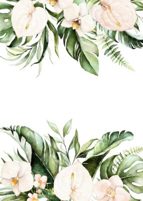 Image Watercolor tropical floral border - green, blush leaves & flowers . For wedding stationary, greetings, wallpapers, fashion, background.