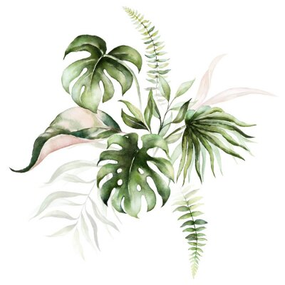 Image Watercolor tropical floral bouquet - green & blush leaves. For wedding stationary, greetings, wallpapers, fashion, background.