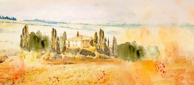 Image Watercolor Tuscany. Countryside landscape